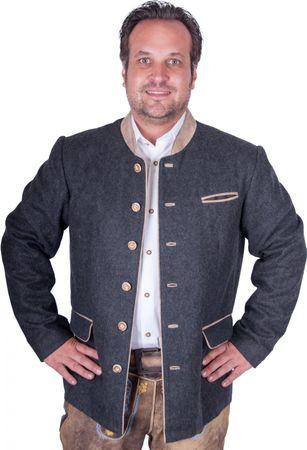 Almwerk Trachten Janker 1013 Herren, Filz mit beiger Lederapplikation und echten Hornknöpfen