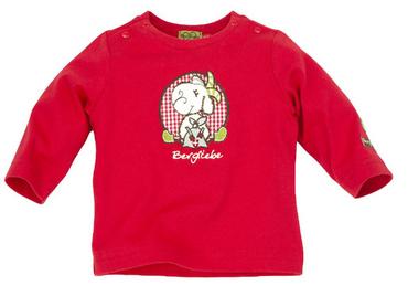 "T-Shirt langarm ""Ziege Bergliebe"" rot"