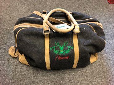 Almwelt Reisetasche aus Leder und Filz mit Henkeln und Trageriemen, groß