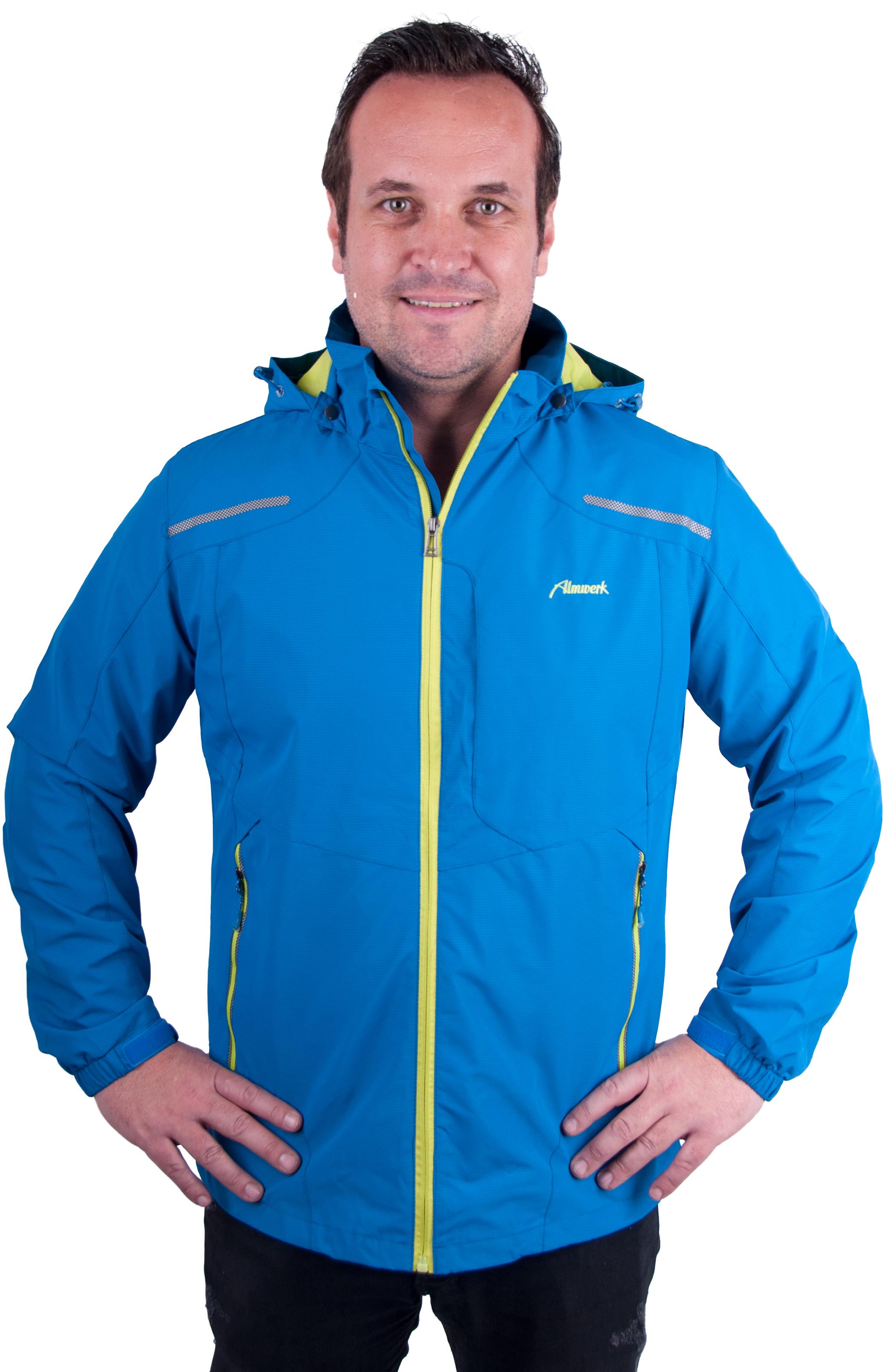super popular 4e4f7 6973a Almwelt Herren Outdoor Regen-Wind-Jacke mit Kapuze in blau und schwarz