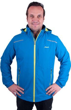 Almwerk Herren Outdoor Regen-Wind-Jacke mit Kapuze in blau und schwarz