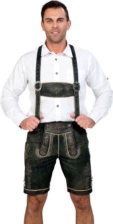 Almwerk Herren Lederhose kurz Modell Hansi Jungel Green