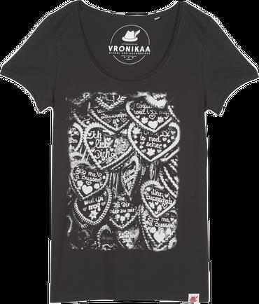 Vronikaa Damen T-Shirt Herzen schwarz