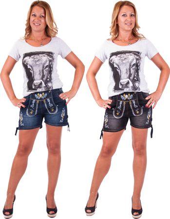 Damen Trachten Jeans Lederhose kurz Modell Gina in blau und schwarz neu