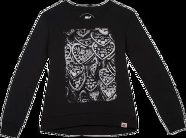 Vronikaa Damen Sweatshirt Herz schwarz