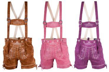 Damen Trachten Lederhose kurz Modell Almfranzi in braun, lila, pink