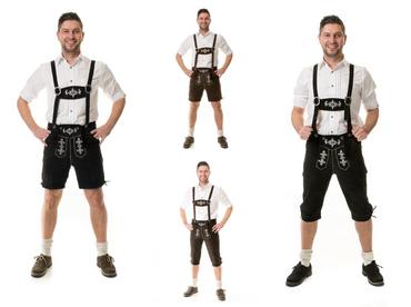 Herren Trachten Lederhose Kniebund oder kurz Almhirsch schwarz oder braun