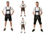 Herren Trachten Lederhose Kniebund oder kurz Almhirsch schwarz oder braun  001