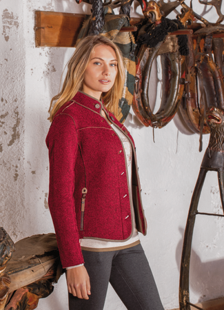 Northland Damen Strickfleece Jacke Anna 08547 wine und navy