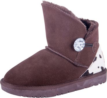 Almwelt Damen Winter-Stiefel Boots kurzschaft aus Echtleder warm gefüttert mit Fell in braun und schwarz