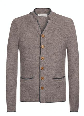 Gweih&Silk Herren Strickjacke 1000 in grau und braun