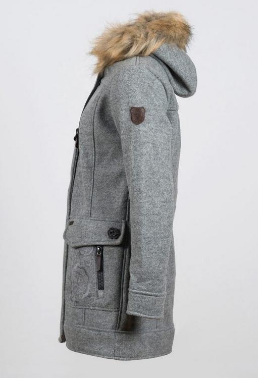 unverwechselbarer Stil zum halben Preis Sportschuhe Northland Damen Wollfleece Mantel Inesa 09148 grau
