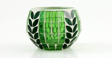 Kugel-Windlicht Blattdesign 10 x 7 cm, grün/dunkelgrün