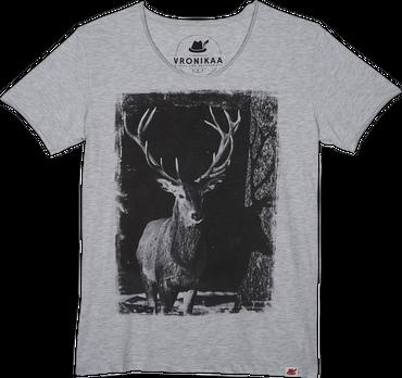 Vronikaa Herren T-Shirt Hirsch grau