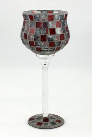 Mosaik-Glaskelch auf Fuß 12 x 30 cm, rot/grau