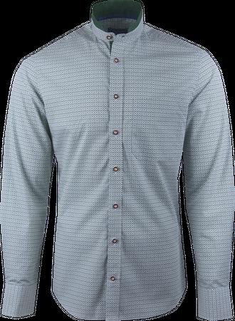 Kaiseralm Herren Hemd Horn 8405 grün mit weißem Muster