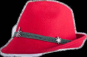 Kitzo Damen Trachten Hut Edelweiß/Feder rot