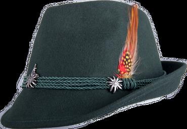 Kitzo Trachten Hut Edelweiß/Feder grün