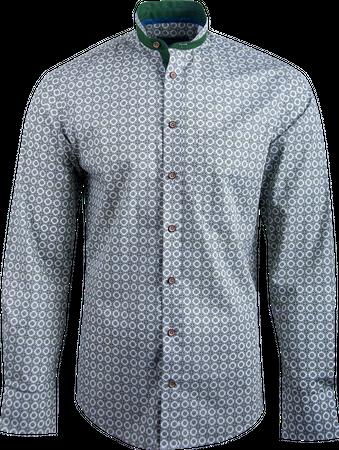 Kaiseralm Herren Hemd Horn 8402 grün mit weißem Muster
