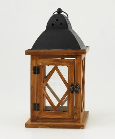 Holz-Laterne mit Metalldach 14 x 27 cm, braun