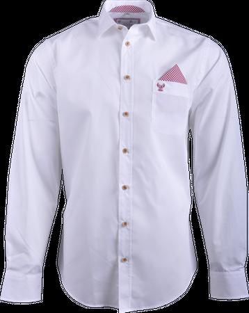 Gweih&Silk Herren Hemd GS04 weiss/rot