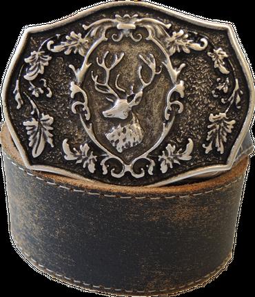 Der Trachtler Leder Gürtel 23813/40 dunkelbraun - Schließe in altsilber und bronze