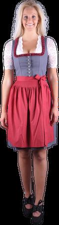 Almzauber Damen Dirndl Paula 8324 grau/rot