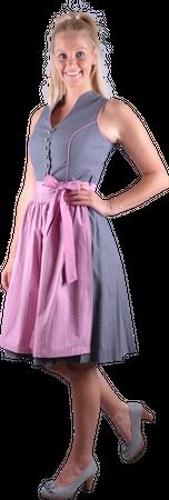 Almzauber Damen Dirndl Larissa 8335 grau/rosa