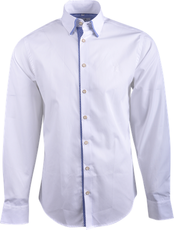 Gweih&Silk Herren Hemd GS02a weiss/blau