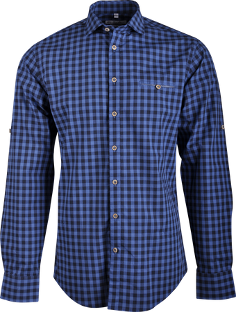 Gweih&Silk Herren Hemd karo Guschtl blau
