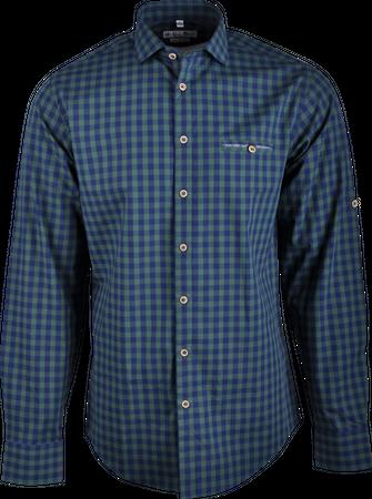 Gweih&Silk Herren Hemd karo Guschtl grün