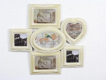 Fotorahmen aus Holz, creme/weiß gewischt, 43 x 40 cm
