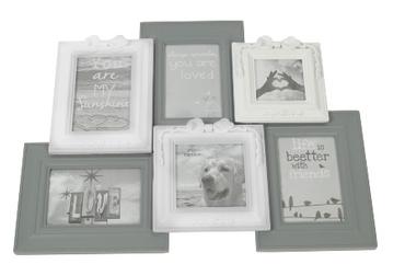 Fotorahmen aus Holz für 6 Bilder, in den Farben grau und weiß