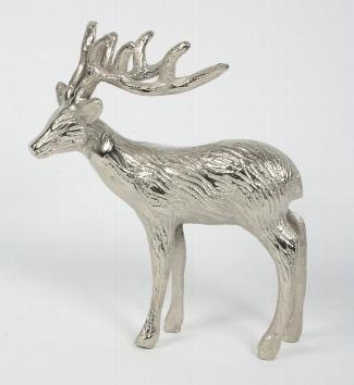 Hirsch aus vernickeltem Aluminium, stehend, 25 x 15 x 28 cm