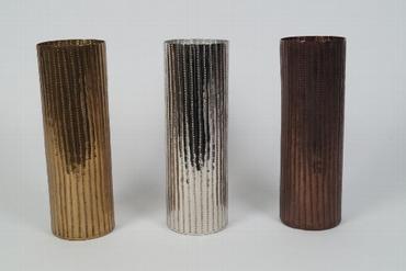 Vase aus Aluminium gehämmert, dreifach sortiert, silber, gold, bronze