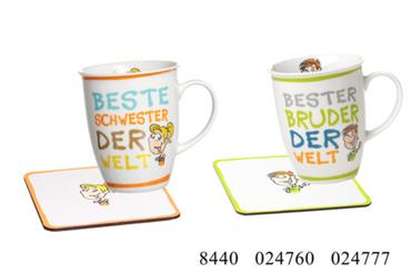 Ritzenhoff & Breker, Beste(r) Schwester/Bruder der Welt Tasse, Geschenkset m. Untersetzer, 320 ml, Flirt