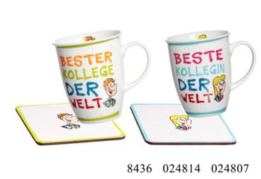 Ritzenhoff & Breker, Beste(r) Kollegin/Kollege der Welt Tasse, Geschenkset m. Untersetzer, 320 ml, Flirt
