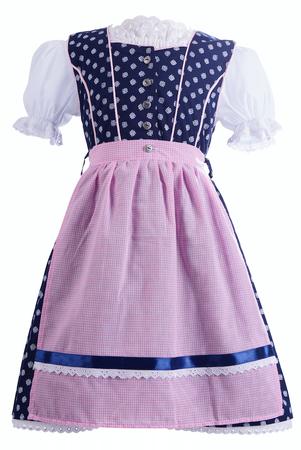 Almwelt Kinder Dirndl Emma blau/rosa mit Bluse