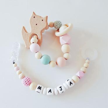 SCHNULLERKETTE mit Namen Mädchen rosa -LITTLE MUCK- – Bild 3