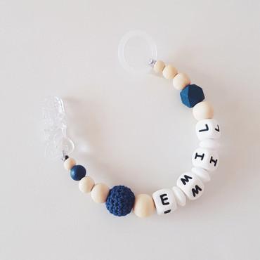 SCHNULLERKETTE mit Namen blau -LITTLE MUCK- – Bild 1