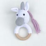 Häkel Baby-Rassel mit Greifring aus Holz -LITTLE Unicorn-  001
