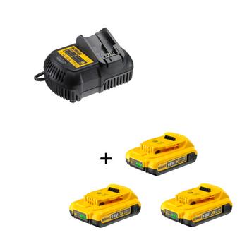 DeWalt Akku-Starterkit DCB105D3 3x 2,0 Ah 18,0 V + Ladegerät