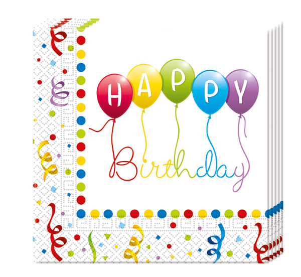Happy Birthday Streamers - 20 Papierservietten (2-lagig) 33x33cm