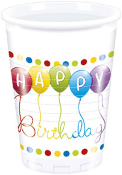 Happy Birthday Streamers - 8 Plastikbecher 200 ml