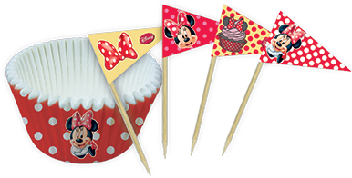 Minnie Café - 24 Cupcake cases flag picks set of 24 in polybag