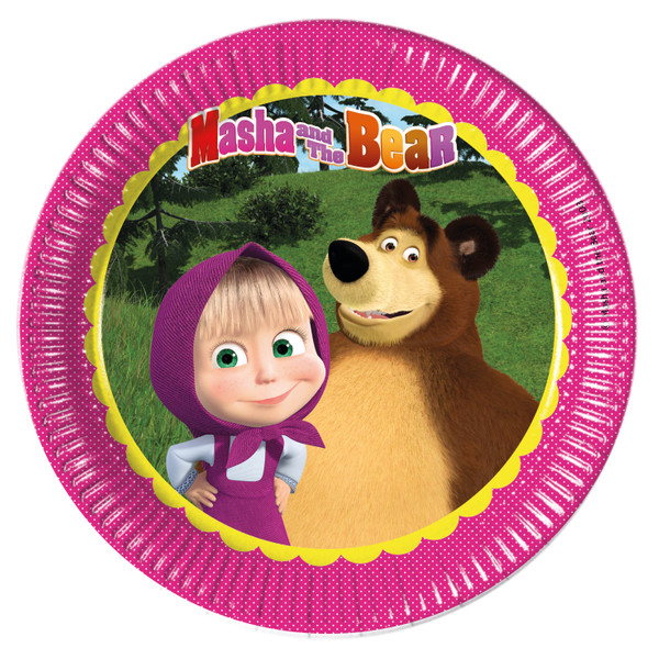 Masha and The Bear - 8 Pappteller Groß 23cm packet of 8 pieces