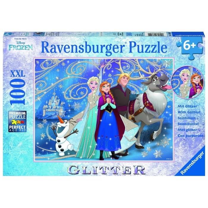 """Frozen/ Die Eiskönigin - XXL 100 Teile Puzzle """"Glitzernder Schnee"""" mit Glitter  – Bild 1"""