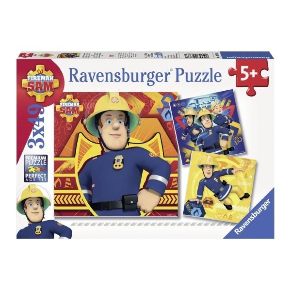"""Feuerwehrmann Sam -  3 x 49 Teile Puzzle """"Bei Gefahr Sam rufen"""" – Bild 1"""