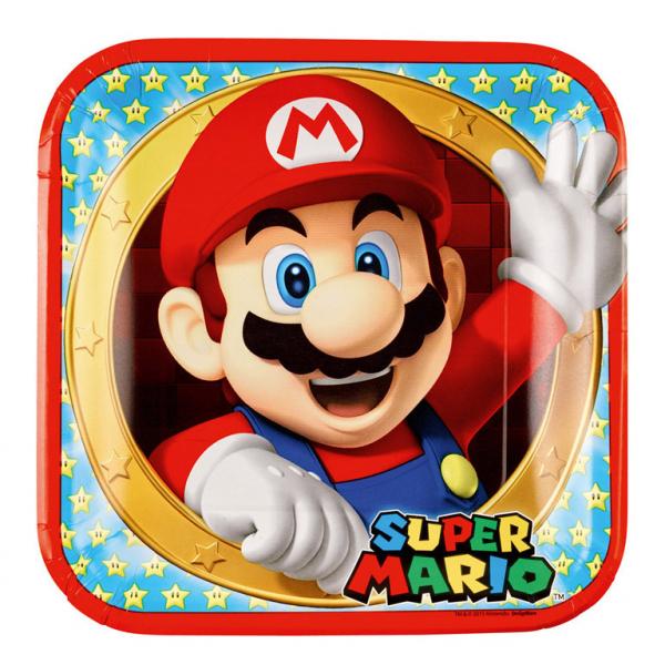 Super Mario - Pappteller 23x23cm, 8 Stk, viereckig