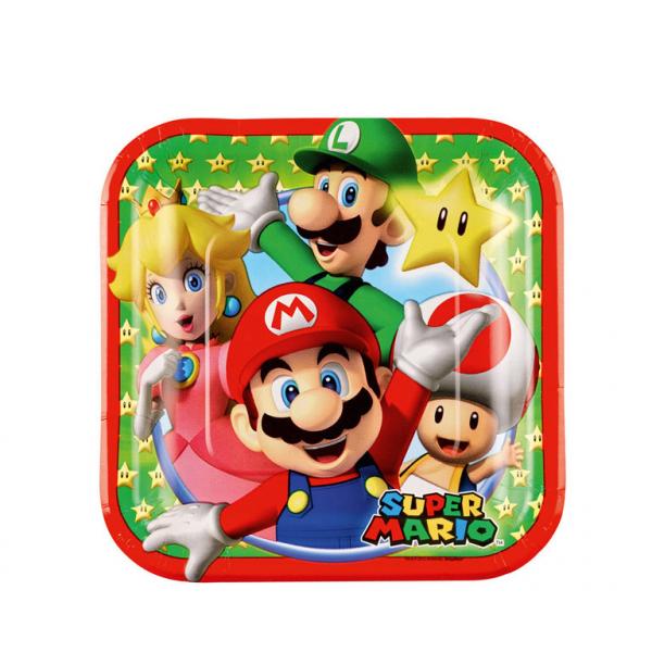 Super Mario - Pappteller 18x18cm, 8 Stk, viereckig